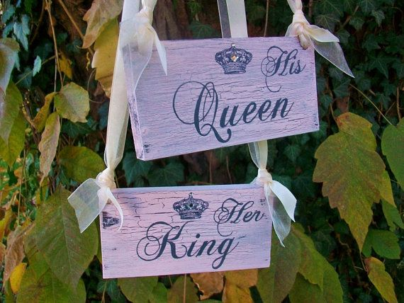 FAIRYTALE Wedding Signs CRYSTALS U0026 PEARLS His Queen And Her King In Blush  Pink Cinderella Wedding