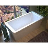 "Found it at Wayfair - Buena 67"" x 34"" Rectangular Freestanding Air Jetted Bathtub with Center Drain"