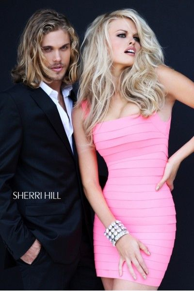 2014 Sherri Hill 2220 Cut Out Banded Mini Dress Pink
