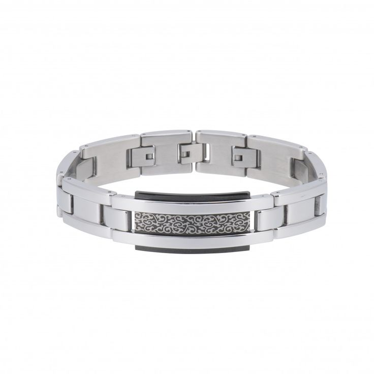 Gents Stainless Steel And Black Pvd Large Link Bracelet