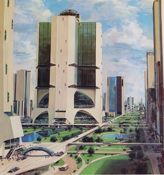 A rare future building from 1975, one of a series by John Berkey as adverts for the Otis Elevator Company.