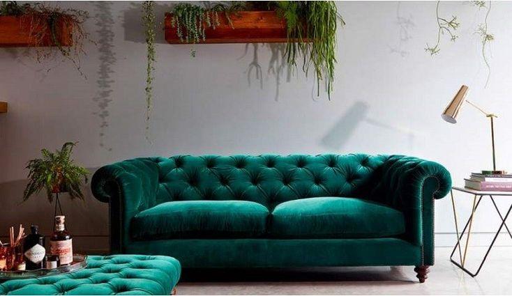 green velvet chesterfield