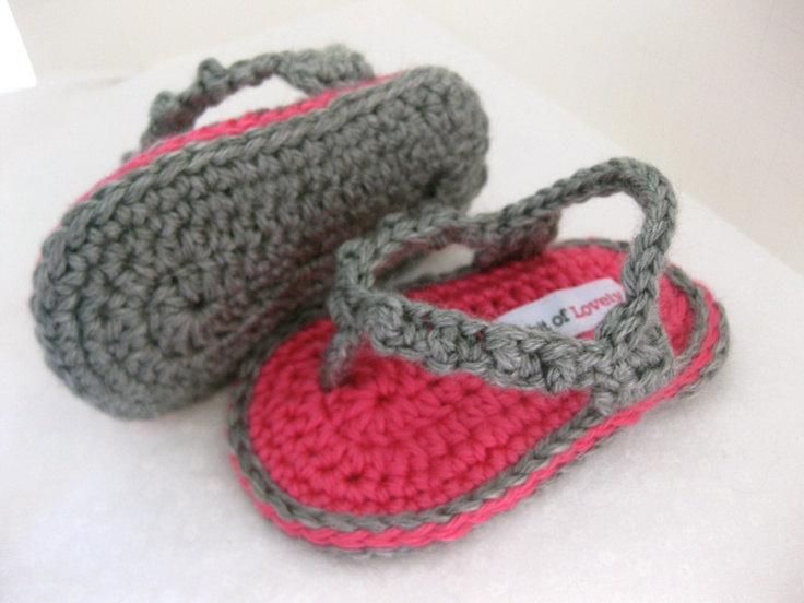 Baby Girl Flip Flop / Shoes / Sandals Bright Pink & Grey Crochet  - YOUR choice size newborn - 9 months - photo prop - clothing. $20.00, via Etsy.