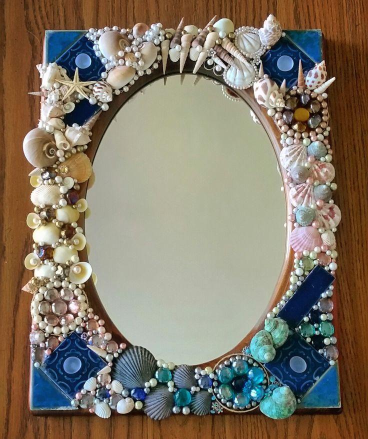 Handmade seashell mosaic mirror #art #mosaic #seashells #sea #ocean #handmade #briannakeiserart