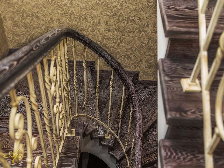 Позолоченные лестничные перила по индивидуальным проектам -Кованые ограждения -Галерея