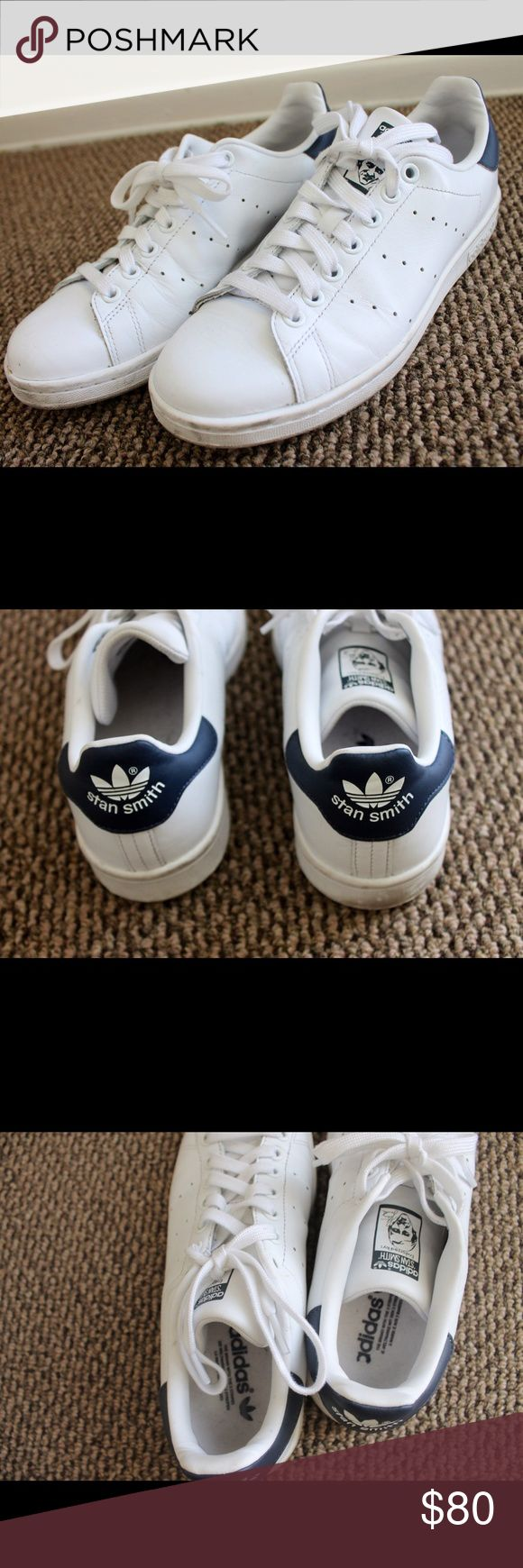 Adidas Stan Smith Navy details. Very lightly worn. Few marks on the rubber sole that would probably come out. Size 7 men's so would fit women 8.5 best Adidas Shoes