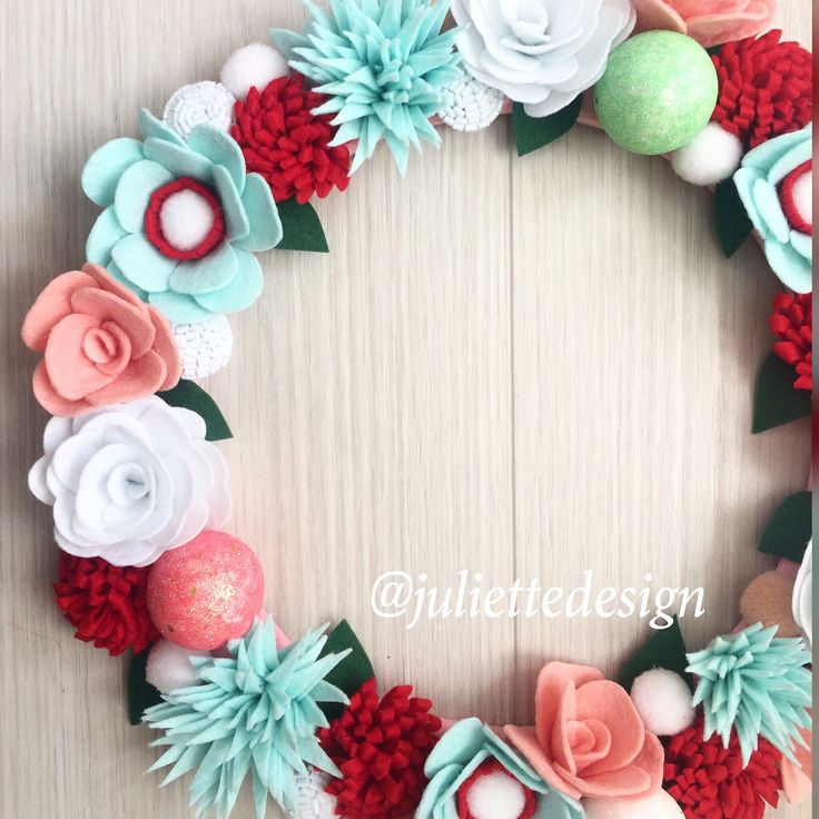 Easter Wreath, Easter Felt Wreath, Felt Wreath, Mint Wreath, Red Flowers Wreath, Mint Flowers Wreath by juliettesdesigntr on Etsy https://www.etsy.com/listing/571709682/easter-wreath-easter-felt-wreath-felt