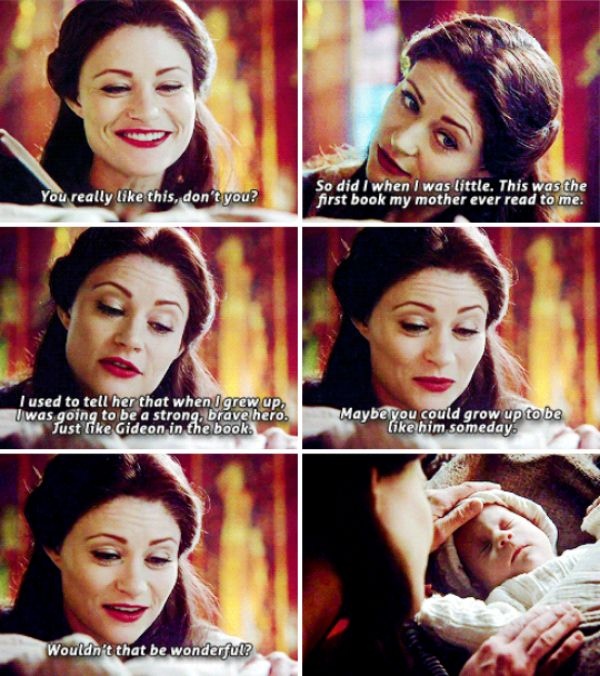 """This was the first book my mother ever read to me. I used to tell her that when I grew up, I was going to be a strong, brave hero. Just like Gideon in the book. Maybe you could grow up to be like him someboday"" - Belle French #OnceUponATime"