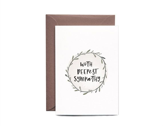 With Deepest Sympathy Wreath Greeting Card by IntheDaylightShop. A collection of cute, contemporary sympathy cards. Curated by Memory Press, creators of beautiful, uplifting, and memorable funeral programs.