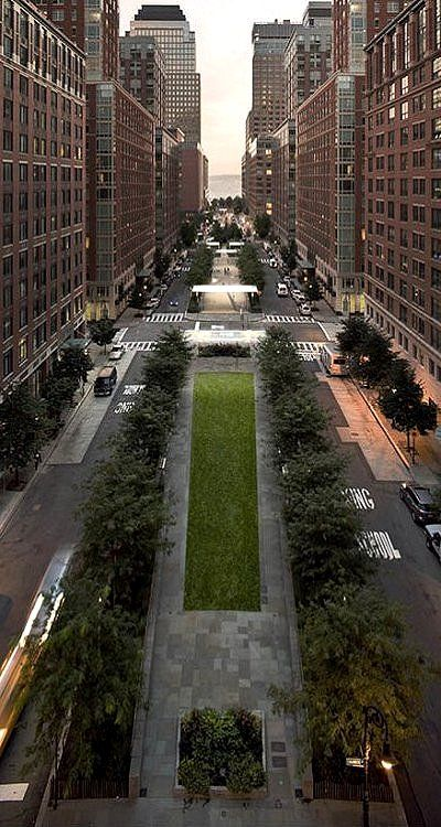 North End Avenue in Battery Park City, New York City, USA