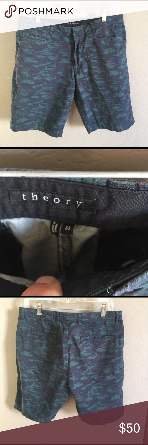 Theory Camouflage Shorts Very hard to find Theory blue and green camouflage shirts. Theory Shorts Flat Front