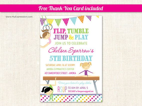 9 best images about Kyleighs 7th Birthday – Gymnastics Party Invitation