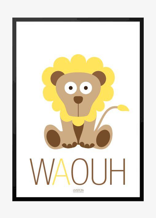 Løve – WAOUH – Børneplakat