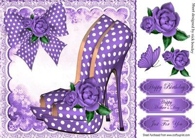 Pretty purple polka dot shoes with roses and bow 8x8 on Craftsuprint designed by Nick Bowley - Pretty purple polka dot shoes with roses and bow 8x8, lots of other lovely designs to see, also in 8x8 mini kit - Now available for download!