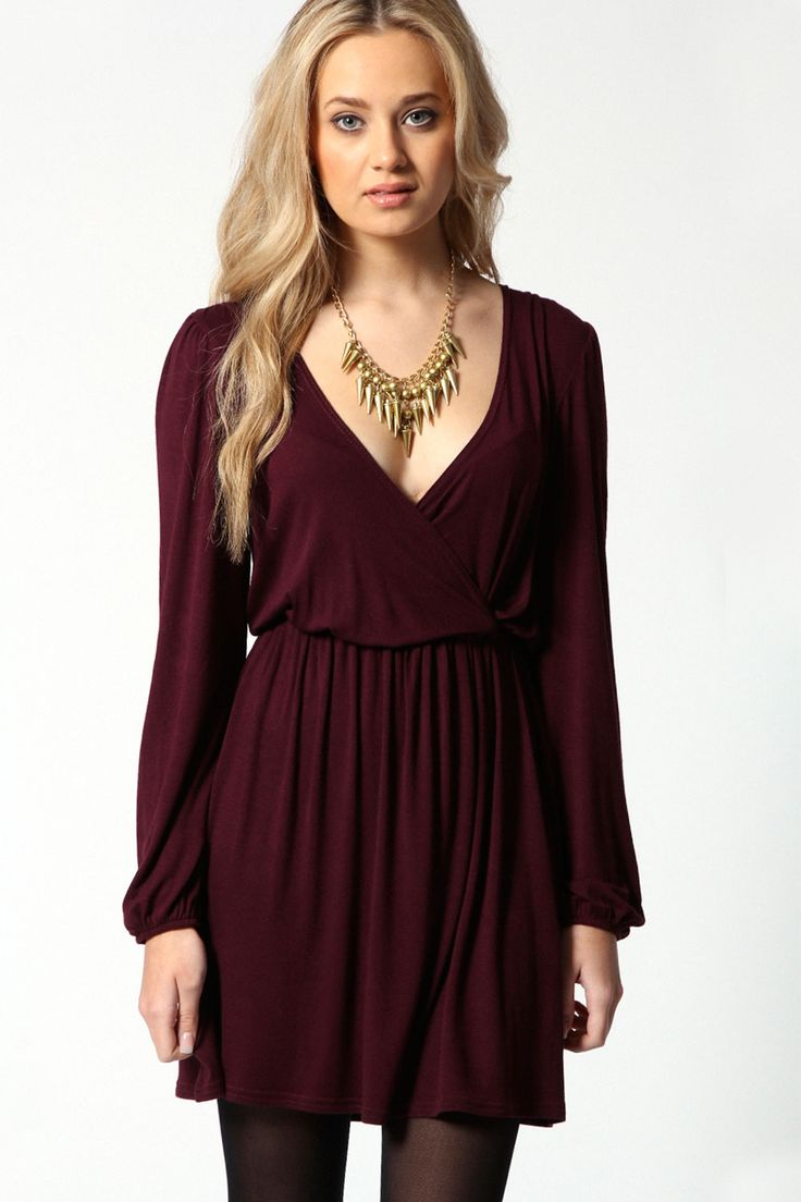 Adriana Jersey Long Sleeve Wrap Dress at boohoo.com