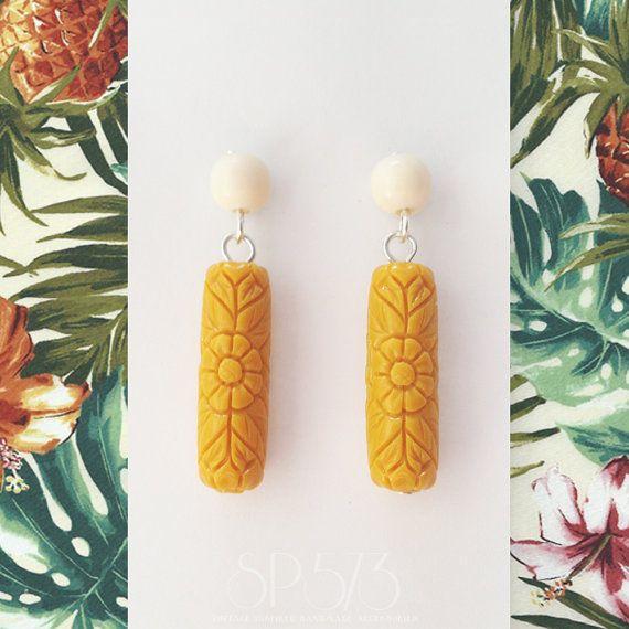 Mustard yellow Earrings Craved flower Earrings Repro by sp573