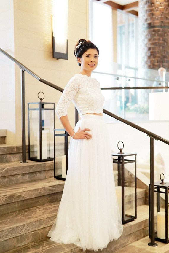 160517929 Handmade wedding tulle skirt with 3-4 train. Available in white, off white