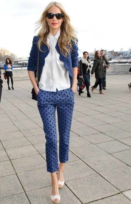 Blue navy jacket, capri pants, blue dots https://lookastic.com/women/looks/jacket-dress-shirt-capri-pants-heeled-sandals-sunglasses/9647 — Black Sunglasses — White Dress Shirt — Navy Tweed Jacket — Blue Polka Dot Capri Pants — Beige Leather Heeled Sandals