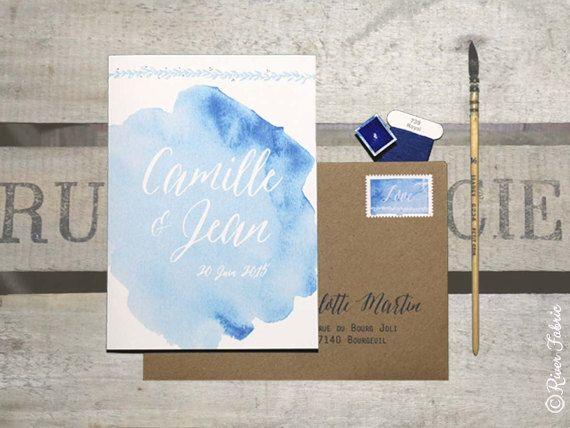 faire part de mariage collection aqua blue par riverfabric sur etsy - Faire Part Mariage Etsy