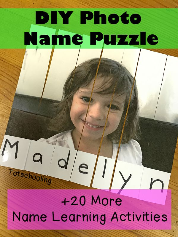 DIY Photo Name Puzzle. Great way to give kids practice spelling their names.