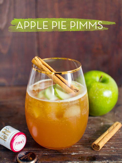 60ml Pimms 60ml cloudy apple juice 30ml cinnamon simple syrup 15ml lemon juice  Dry apple cider or ginger ale