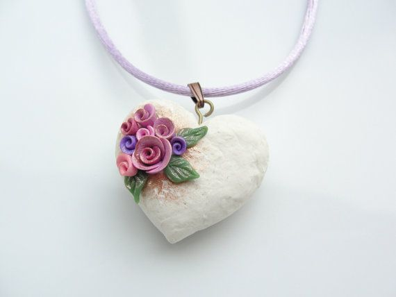 Shabby chic style polymer clay cream heart with pink and mauve roses on a lilac silky cord necklace handmade