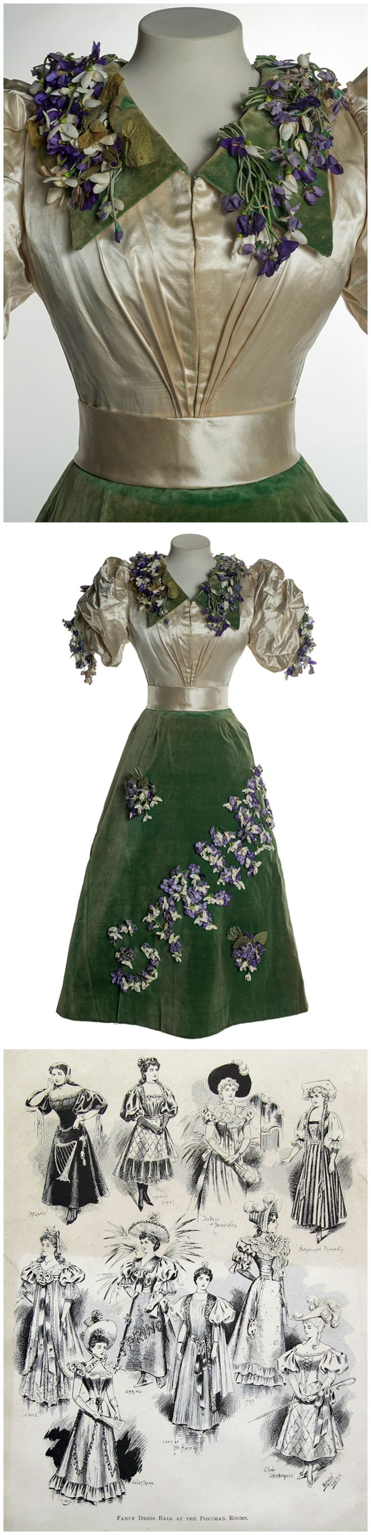 """Fancy dress ensemble depicting Spring, from the Museum of London. The outfit, decorated with sprays of artificial crocus, is said to have been worn to a fancy dress ball at the Portman Rooms around 1893, but the large puffed sleeves seem to point to the mid-1890s. An (undated) illustration of ten outfits worn to a """"Fancy Dress Ball at the Portman Rooms"""" includes this particular ensemble. For more information, see: http://blog.museumoflondon.org.uk/dress-spring/"""