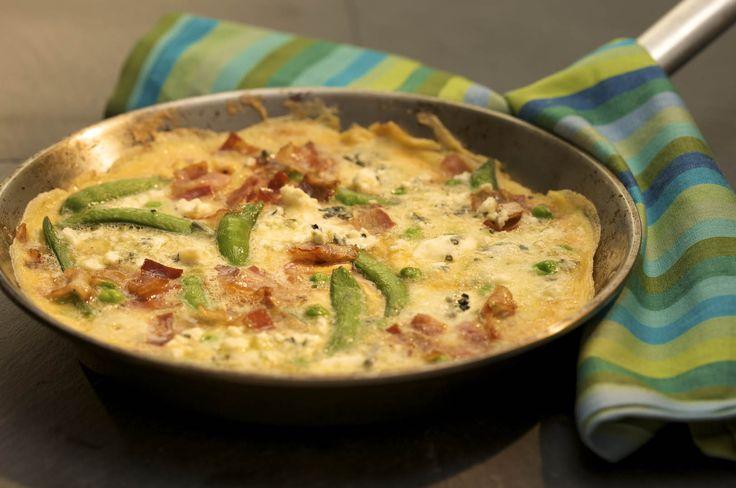 Omelettes aux légumes, au Fromage Bleu et à la pancetta