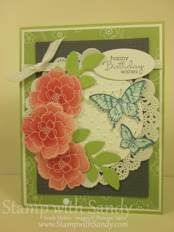 Secret Garden Stamp Set and coordinating Secret Garden Framelits, and the smaller of the two butterflies was punched with the new Bitty Butterfly Punch