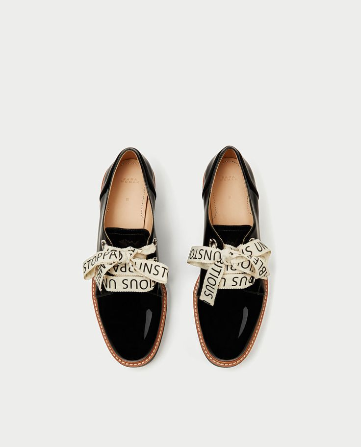 FAUX PATENT BROGUES WITH SLOGAN PRINT BOW-View all-SHOES-WOMAN   ZARA United States