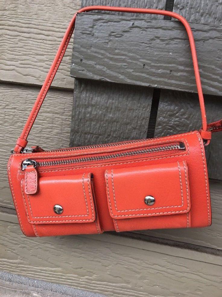 Nordstrom Genuine Leather Orange Wallet Wristlet Clutch Organizer    eBay