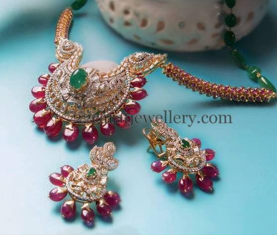 Jewellery Designs: Ruby Beads Embellished Diamond Locket