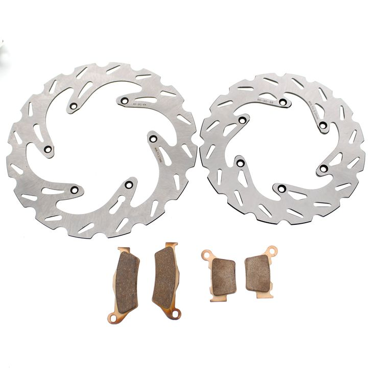2004 - 2008 KTM 125 EXC Front and Rear RipTide Rotors and Severe Duty Brake Pads, Silver stainless steel