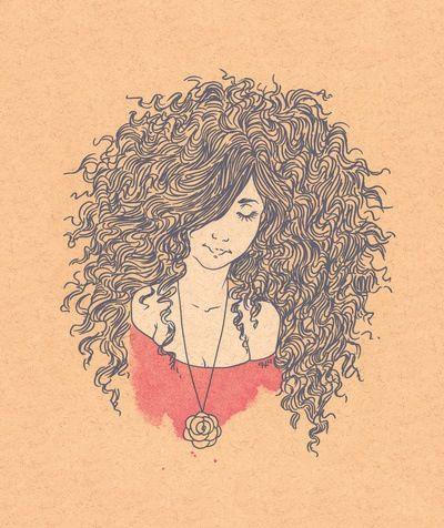 Natural hair curly drawing | Natural Hair | Pinterest