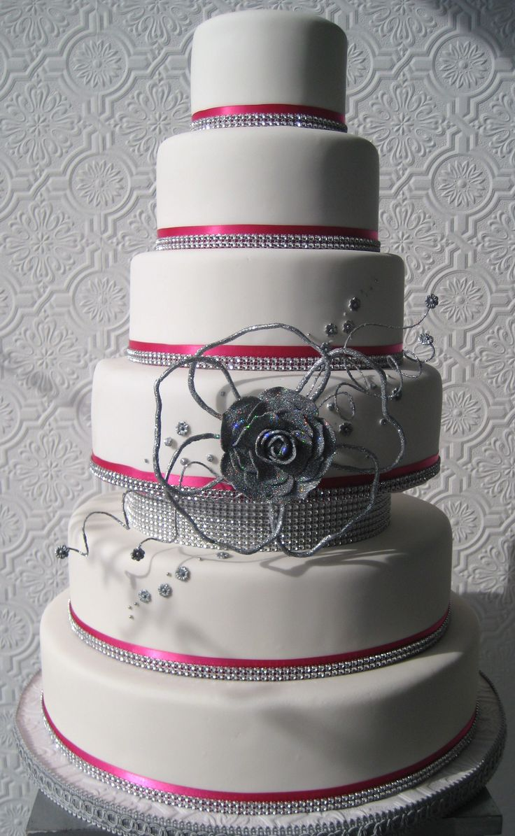 Pink And Silver Wedding Cake Favorite Places Spaces Pinterest