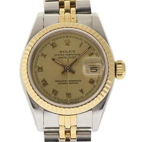 Rolex Datejust swiss-automatic womens Watch 69173 (Certified Pre-owned) - Rolex Datejust, Reference Number: 69173, Case Size/Material: 26mm Stainless Steel, Bezel: Yellow Gold Fluted, Dial: Champagne with Roman Numeral Hour Markers, Movement: Automatic, Crystal: Plastic, Bracelet: Stainless Steel & Yellow Gold Jubilee, Serial: 9.4 mill, Circa: 1986. This watch does not...