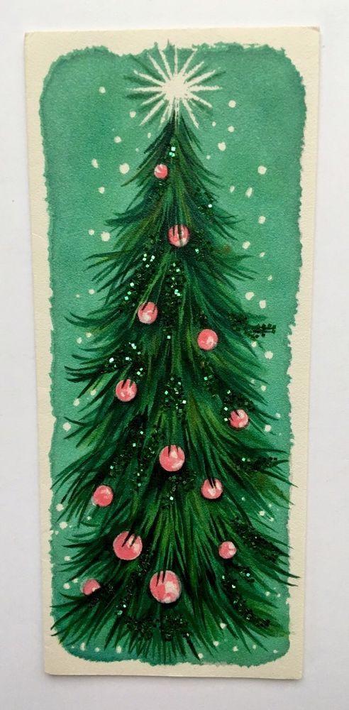 Vintage Hallmark Greeting Card Mid Century Christmas Card Pink Ornament Glitter