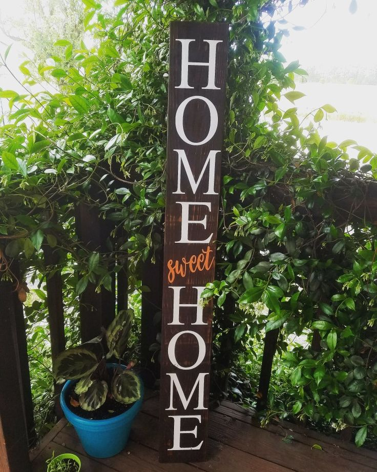 """During drying time of customer orders, I wanted to make a new front porch sign for myself!  This sign is about 5.5 feet tall! I chose to do """"sweet"""" in calligraphy print and in the color coral to compliment all of my turquoise that I'm obsessed with! I think I may wrap it in some twine at the top and bottom!  #frontporchnesting  #homesweethome #home #sweet #homesweethome #homesweethome #homesweethome❤️ #frontporch #handmadewithlove #etsy #workingmomma #etsyseller #saidinwood #etsymagazine"""