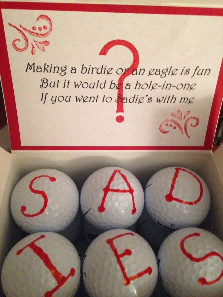 Box of golf balls was my daughters Sadie's Dance invite for her golfer boyfriend.
