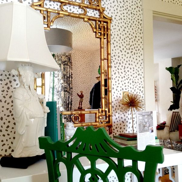 Decorating Ideas From A Show House - Asian-inspired vignette, pagoda mirror, wallpaper