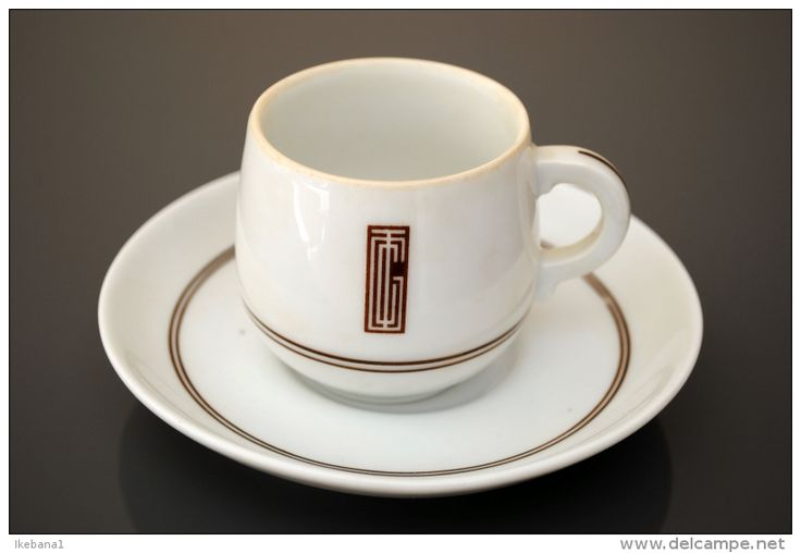 1930's coffee cup made for the ocean liner NORMANDIE LIMOGES, France manufacturer- GDA