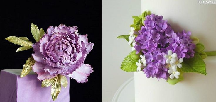 lilac sugar flowers by PetalSweet right and sugar peony left by Lina Veber Cake - multiple sugar flower tutorials