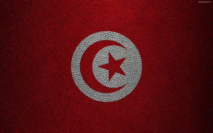 Download wallpapers Flag of Tunisia, Africa, 4k, leather texture, Tunisian flag, flags of African countries, Tunisia