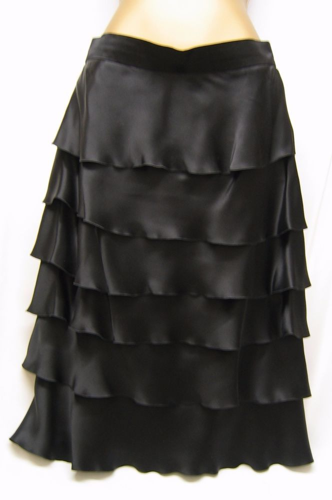 Auth CHER MICHEL KLEIN Black Silk Skirt, S