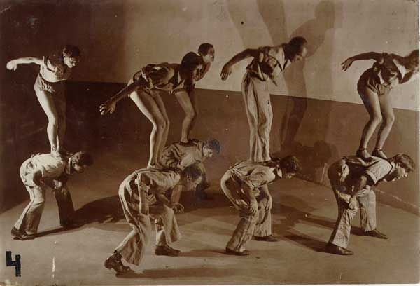 Meyerhold's Biomechanics: the stance on  the back. From Actor Training (2nd edition) edited by Alison Hodge.