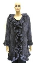 Knitted 100% Mink Stroller Coat with Ruffles - Grey