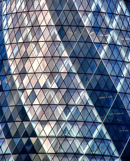 "30 St Mary Axe, London (aka ""the Gherkin), designed by Norman Foster and Ken Shuttleworth"