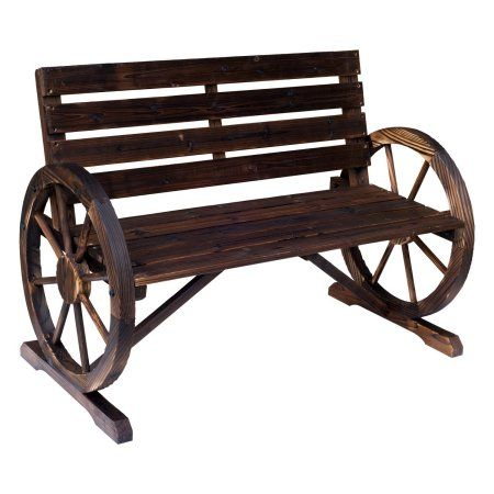 Free Shipping. Buy Outsunny Wooden Wagon Wheel Bench Rustic Outdoor Park at Walmart.com