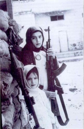"""historywars: """"Two little girls soldier during the Lebanese civil war. """""""