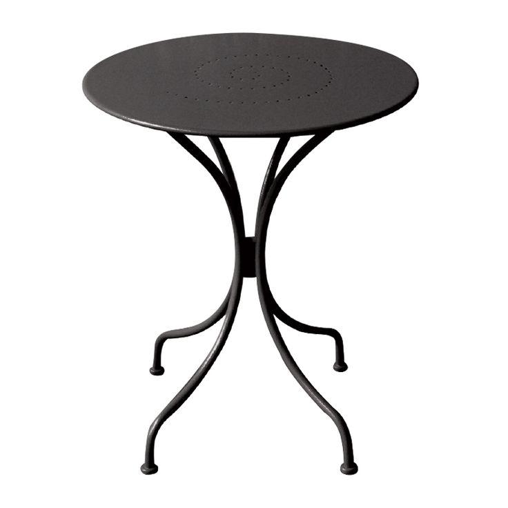 Park garden round table steel black